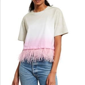 Dip dye cropped feather Tee